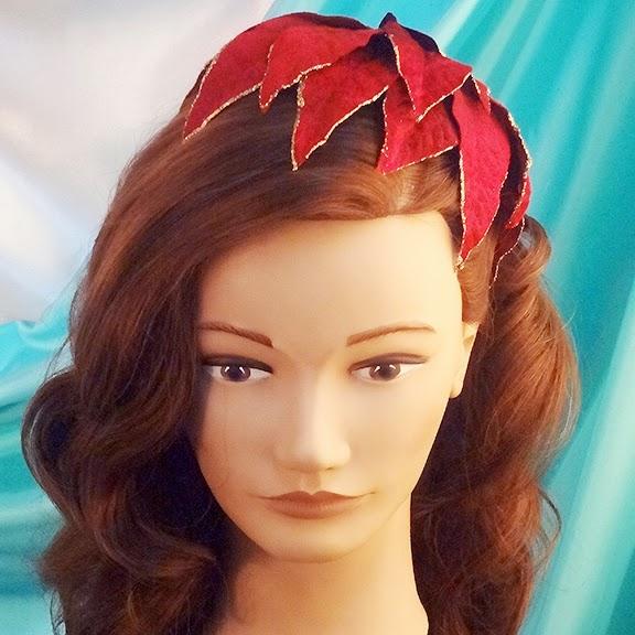 poinsettia petals hat vintage christmas hair accessories