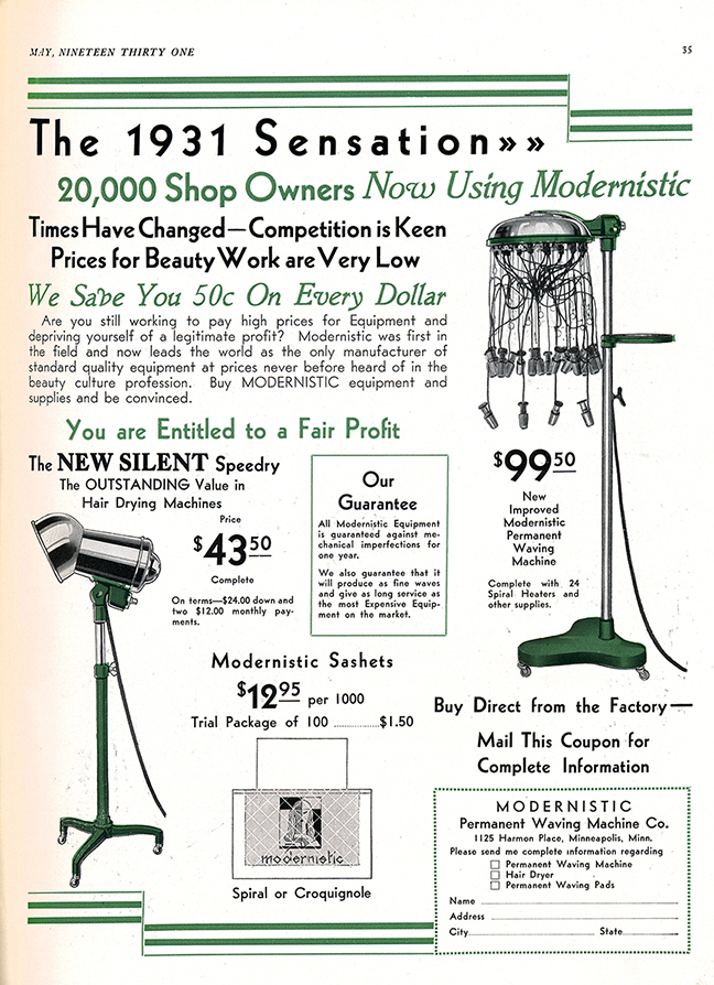 1931 Modernist Vintage Perm Machine and Dryer Ad