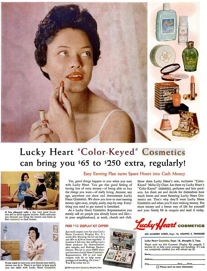 Lucky Heart Cosmetics Advertisement African American Vintage Makeup 1950s 1960s