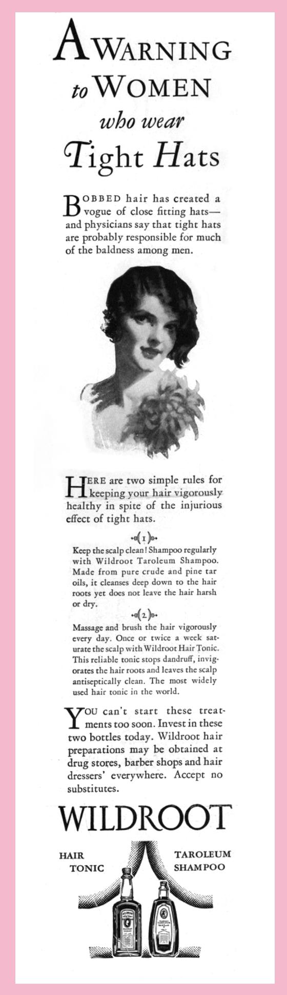 Wildroot hair tonic advertisement 1920s