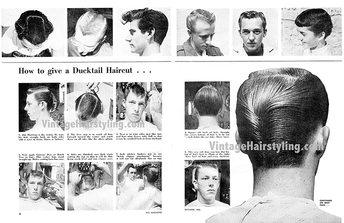 Men S Vintage 1950s Haircuts Ducktail Tutorial And More Bobby Pin Blog Vintage Hair And Makeup Tips And Tutorials